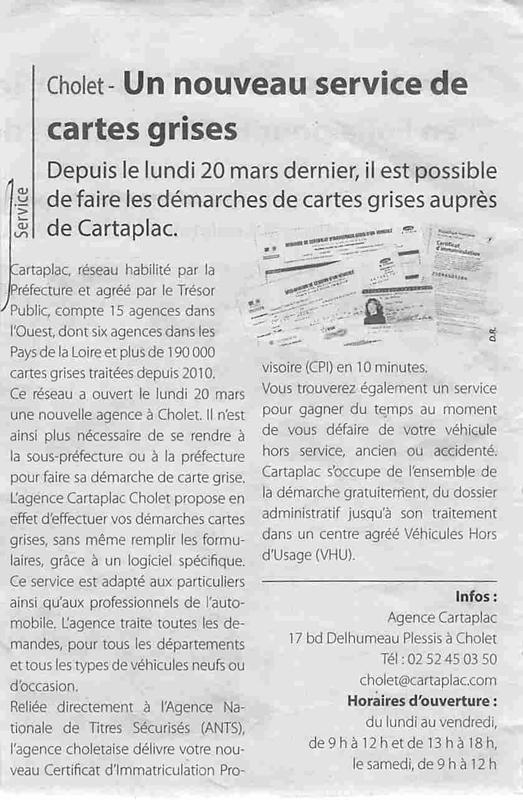 Article Synergences Cholet : ouverture d'une agence Cartaplac à Cholet