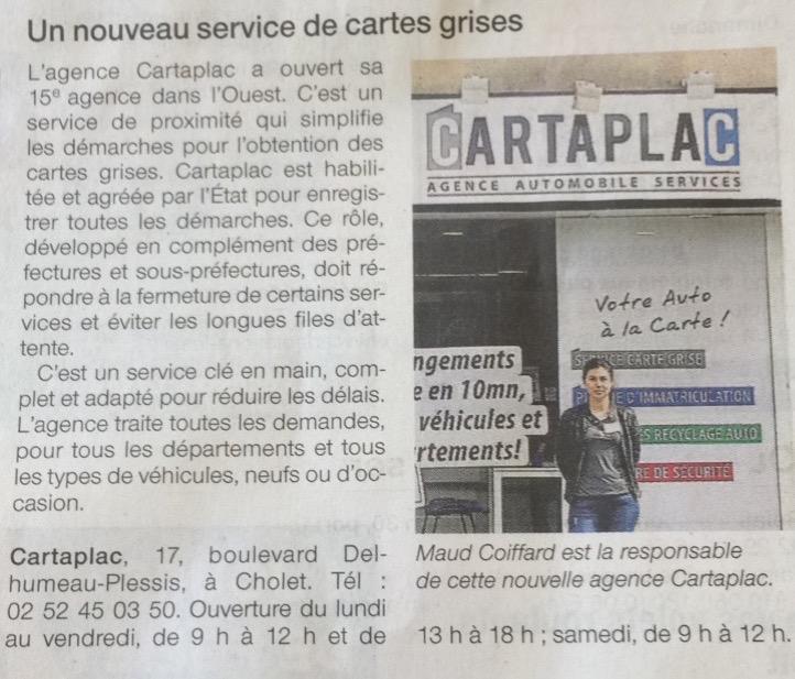 Article Courrier de l'Ouest : ouverture d'une agence Cartaplac à Cholet