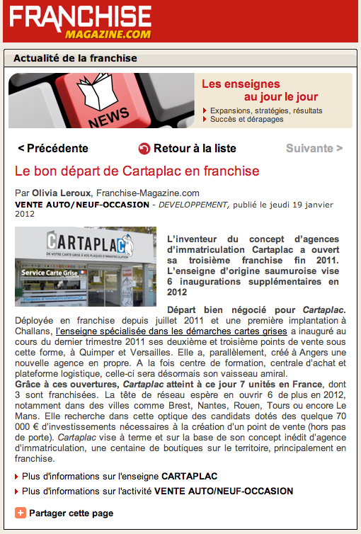 Article Franchise Magazine