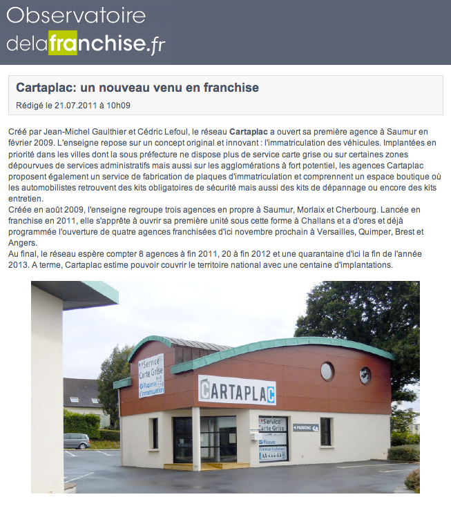 Article L'Observatoire de la franchise