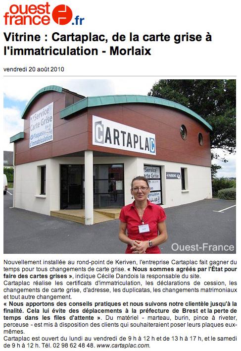 Article Ouest France : ouverture d'une agence Cartaplac à Morlaix