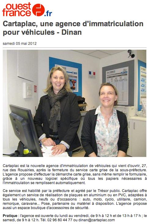 Article Ouest France : ouverture d'une agence Cartaplac à Dinan