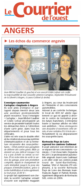 Article Le Courrier de l'Ouest