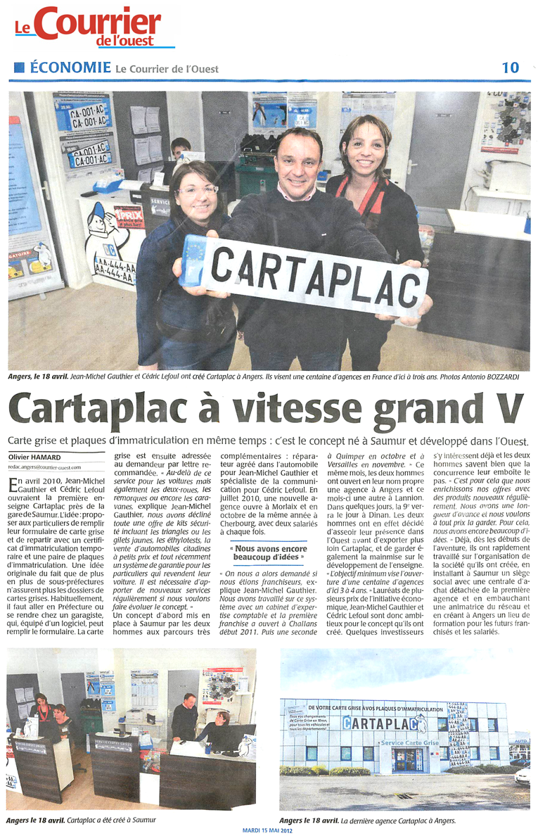 Article Le Courrier de l'Ouest : Cartaplac à vitesse grand V