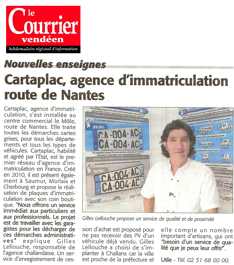 Article Le Courrier Vendéen