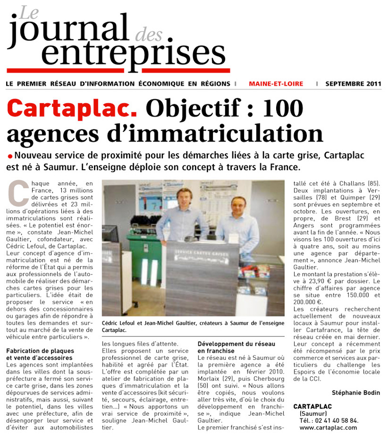 Article Le Journal des Entreprises