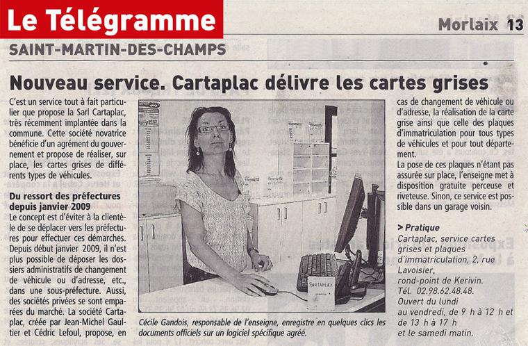 Article Télégramme : ouverture d'une agence Cartaplac à Morlaix