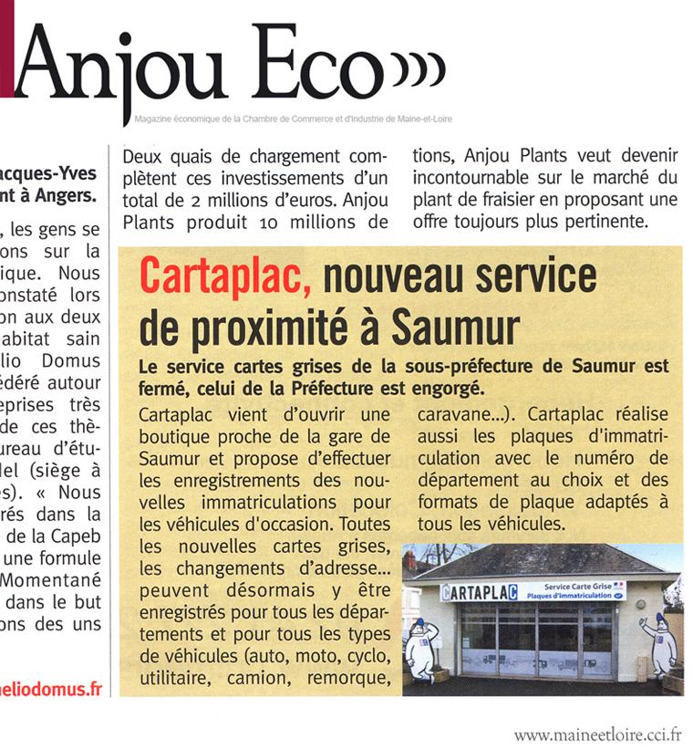 Article Anjou Eco : Nouveau service à proximité de Saumur