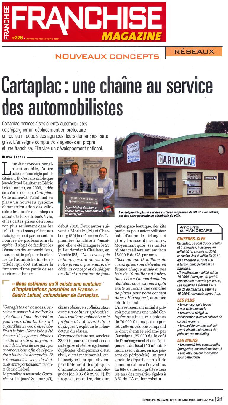 Article Franchise Magazine : Une chaîne au service des automobilistes