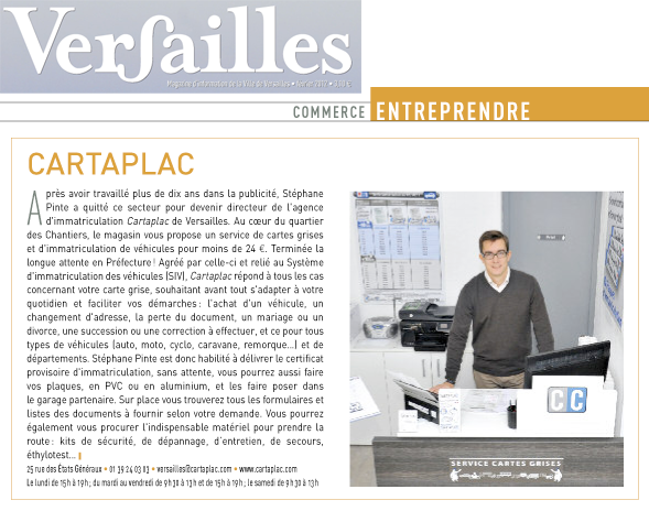 Article Versailles Magazine